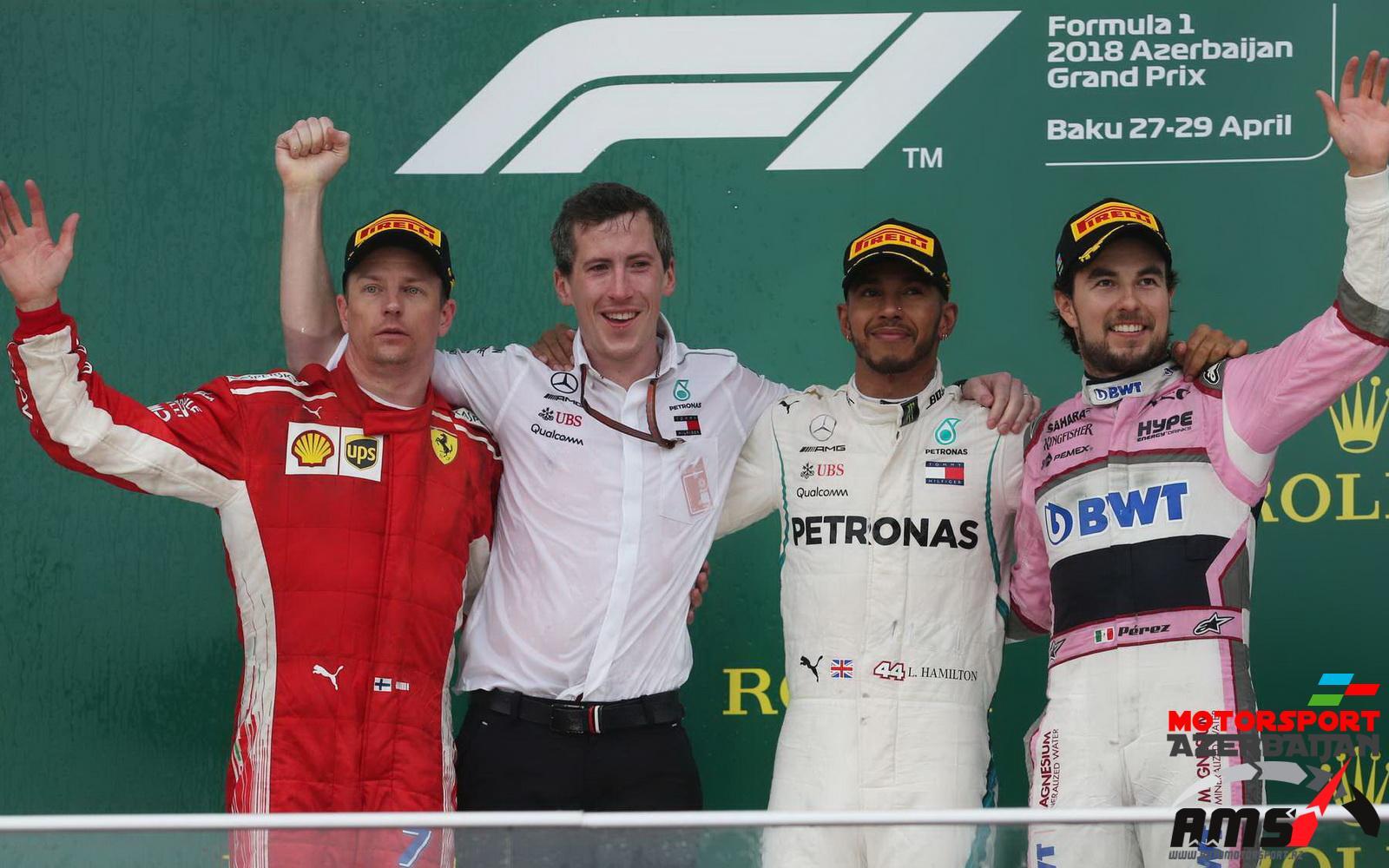 Lewis Hamilton, Kimi Raikkonen, Sergio Perez