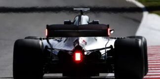 Mercedes with red led lights on the rear wing