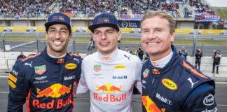 Daniel Ricciardo, Max Verstappen, David Coulthard