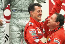 Michael Schumacher, Jean Todt during awarding ceremony after the Japanese Grand Prix at the Suzuka Circuit in this Sunday, Oct. 8, 2000