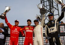 Winners Tom Kristensen (DNK) and Johan Kristoffersson (SWE) of Team Nordic celebrate on the podium with runners up Sebastian Vettel (GER) and Mick Schumacher (GER) of Team Germany during the ROC Nations Cup on Saturday 19 January 2019 at Foro Sol, Mexico City, Mexico.