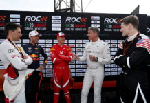Loic Duval (FRA), Pierre Gasly (FRA), Mick Schumacher (GER), David Coulthard (GBR) and Josef Newgarden (USA) talk during practice for the Race of Champions on Friday 18 January 2019 at Foro Sol, Mexico City, Mexico.