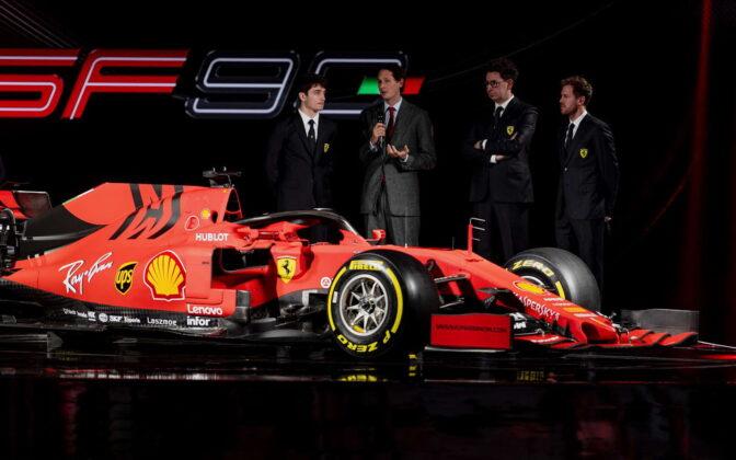 Charles Leclerc, John Elkann, Mattia Binotto, Sebastian Vettel