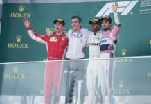 1st place for Lewis Hamilton (GBR) Mercedes AMG Petronas Motorsport, 2nd place for Kimi Raikkonen (FIN) Scuderia Ferrari and 3rd place for Sergio Perez (MEX) Force India F1 Team. 29.04.2018. Formula 1 World Championship, Rd 4, Azerbaijan Grand Prix, Baku Street Circuit, Azerbaijan, Race Day. - www.automotorsport.az, EMail: info@automotorsport.az - copy of publication required for printed pictures. Every used picture is fee-liable. © Copyright: automotorsport.az