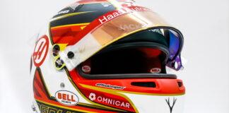 F1 driver helmet