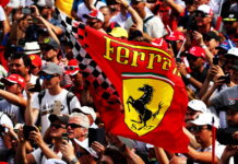 Ferrari flag with fans