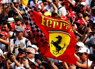 Ferrari flag with fans