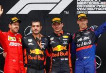 Sebastian Vettel, Max Verstappen, Daniil Kvyat