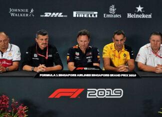 Frederic Vasseur, Guenther Steiner, Christian Horner, Cyril Abiteboul, Zak Brown