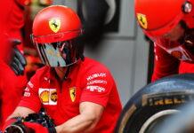 Ferrari practices a pit stop