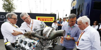 Didier Perrin, Ross Brawn and Charlie Whiting with the new F2 engine