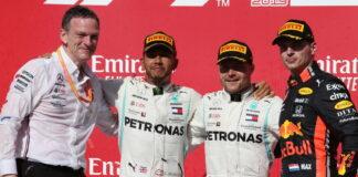 James Allison, Lewis Hamilton, Valtteri Bottas, Max Verstappen
