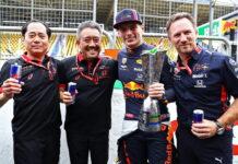 Toyoharu Tanabe, Masashi Yamamoto, Max Verstappen, Christian Horner