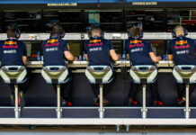 The Red Bull Racing pit wall