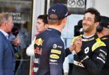 Daniel Ricciardo congratulates Race winner Max Verstappen