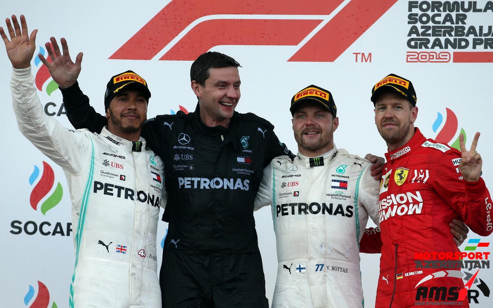 Lewis Hamilton, Valtteri Bottas, Sebastian Vettel