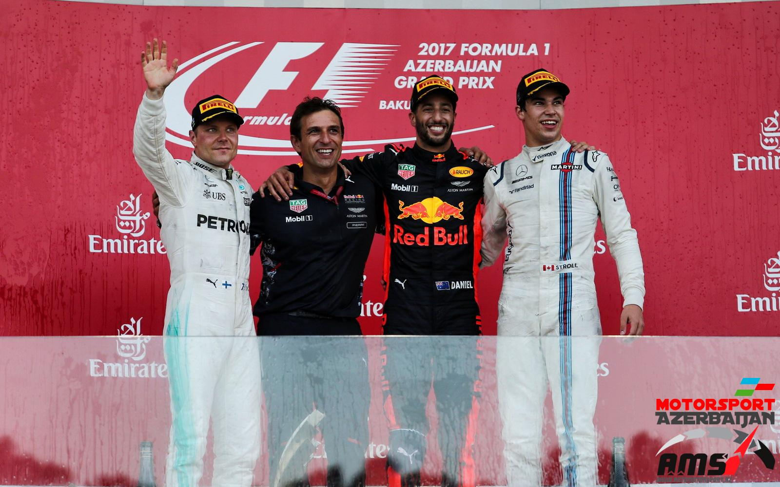 Valtteri Bottas, Daniel Ricciardo, Lance Stroll, Baku City Circuit, 2017