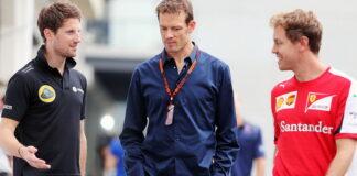 Romain Grosjean, Alex Wurz, Sebastian Vettel