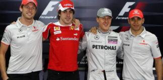 Jenson Button, Fernando Alonso, Michael Schumacher, Lewis Hamilton