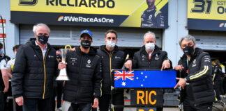 Jean-Dominique Senard, Daniel Ricciardo, Cyril Abiteboul, Jerome Stoll, Luca de Meo