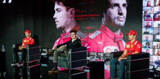 Carlos Sainz, Mattia Binotto, Charles Leclerc