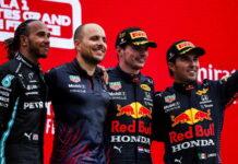 Lewis Hamilton, Gianpiero Lambiase, Max Verstappen, Sergio Perez