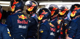 The Red Bull Racing team watch the action