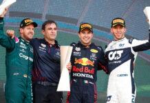 Sebastian Vettel, Pierre Wache, Sergio Perez, Pierre Gasly