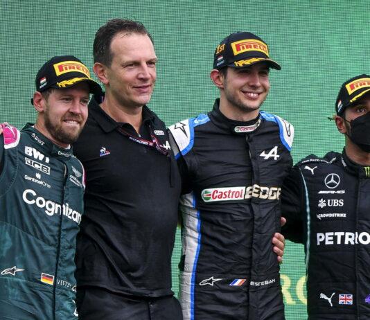 Sebastian Vettel, Esteban Ocon, Lewis Hamilton