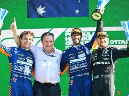 Lando Norris, Zak Brown, Daniel Ricciardo, Valtteri Bottas